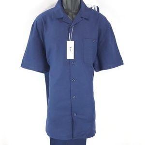 Men's Navy Walking Suit Short Sleeves Pleated Pant
